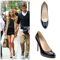 Christian Louboutin Platform Round Toe Plain Leather Platform Pumps & Mules