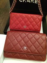 CHANEL CHAIN WALLET Dark Red/GHW Cavier Skin Classic Quilted Wallet On Chain