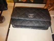 CHANEL CHAIN WALLET Black/SHW Glitter Lame Classic Quilted Wallet On Chain