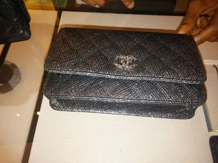 Black/SHW Glitter Lame Classic Quilted Wallet On Chain