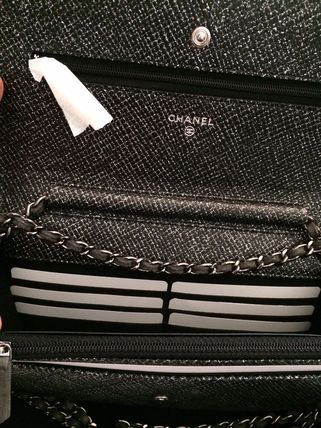 CHANEL Shoulder Bags Black/SHW Glitter Lame Classic Quilted Wallet On Chain 3