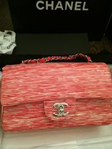 CHANEL MATELASSE Red&White/SHW Striped Patent Calfskin Flap Bag