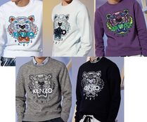KENZO Crew Neck Long Sleeves Cotton Sweatshirts