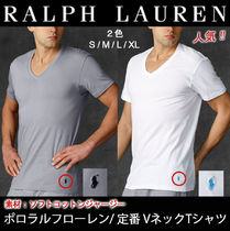 Ralph Lauren V-Neck Plain Cotton Short Sleeves V-Neck T-Shirts