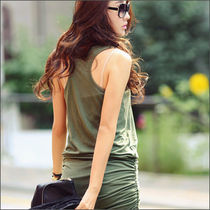 Short Casual Style Tight Sleeveless U-Neck Plain Dresses