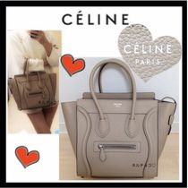 CELINE Luggage Calfskin Plain Office Style Totes