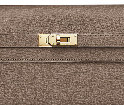 HERMES Long Wallets Kelly Etoupe Leather Long Wallet With Gold Hardware 3