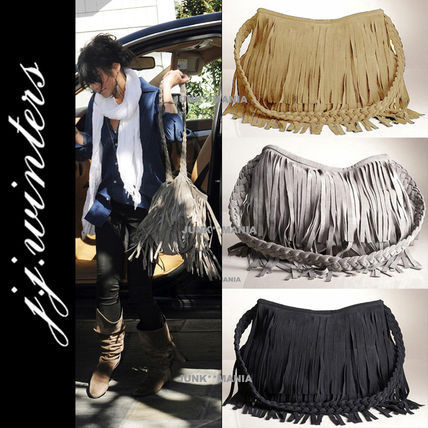 Casual Style Suede A4 Plain Fringes Shoulder Bags
