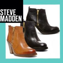 Steve Madden Plain Leather Block Heels Ankle & Booties Boots