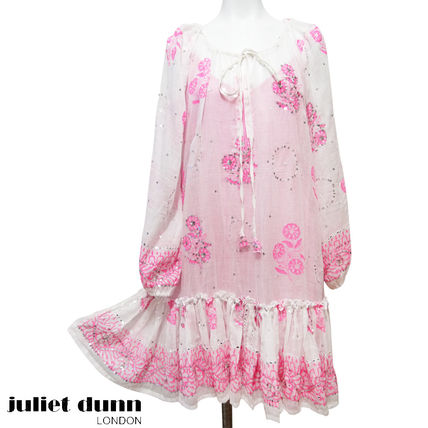 Short Casual Style Flared U-Neck Long Sleeves Cotton Dresses
