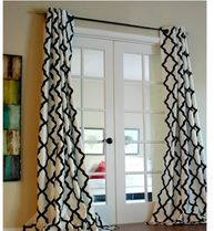 Blended Fabrics Geometric Patterns Black & White Curtains