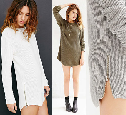 UNIF Clothing Short Street Style Long Sleeves Plain Cotton Dresses