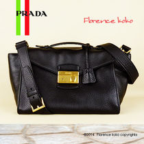PRADA Calfskin 2WAY Plain Handbags