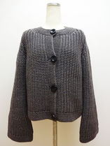 HERMES Cable Knit Street Style U-Neck Long Sleeves Plain Long