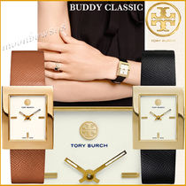 Tory Burch Leather Square Analog Watches