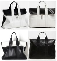 3.1 Phillip Lim Unisex A4 3WAY Bi-color Plain Leather Office Style Handbags