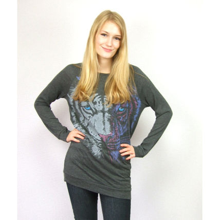 Crew Neck Short Long Sleeves Other Animal Patterns Cropped