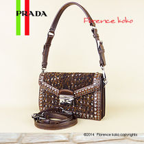 PRADA Cacao Knicker Brown Wool/Leather Shoulder Bag