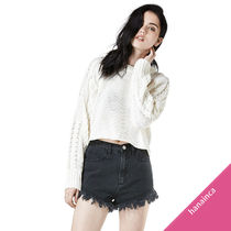 UNIF Clothing Crew Neck Cable Knit Short Long Sleeves Plain Cropped