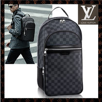 Louis Vuitton DAMIER Other Check Patterns Unisex A4 2WAY Leather Backpacks