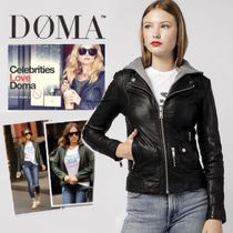 DOMA Short Plain Leather Biker Jackets