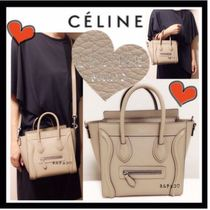 CELINE Luggage Calfskin 3WAY Plain Party Style Shoulder Bags