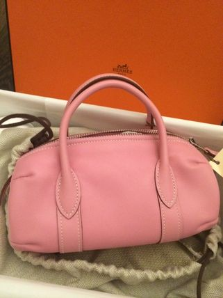 Hermes Pink/SHW Swift Leather Polochon Bag