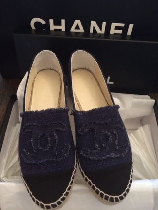 CHANEL ICON Logo Round Toe Casual Style Shoes