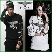BOY LONDON Pullovers Unisex U-Neck Long Sleeves Cotton
