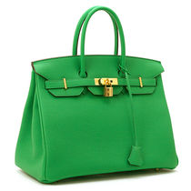HERMES Birkin Bamboo Green/SHW Togo 35 Medium Bag