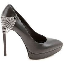 Saint Laurent Chain Leather Pin Heels Pointed Toe Pumps & Mules