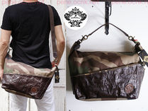 OROBIANCO Camouflage Unisex A4 2WAY Leather Messenger & Shoulder Bags