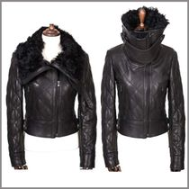Short Casual Style Studded Leather Biker Jackets