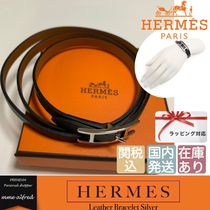 HERMES Casual Style Unisex Leather Bracelets