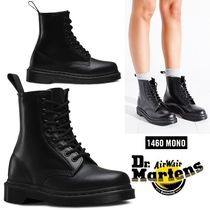 Dr Martens 1460 Round Toe Rubber Sole Lace-up Unisex Plain Leather