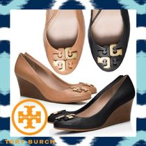 Tory Burch Plain Leather Wedge Pumps & Mules