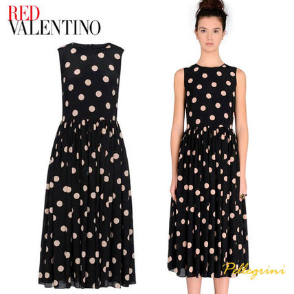 RED VALENTINO Dots Silk Sleeveless Long Party Style Dresses