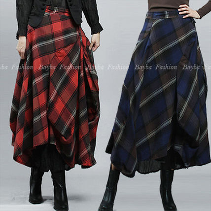 Other Check Patterns Maxi Cotton Maxi Skirts