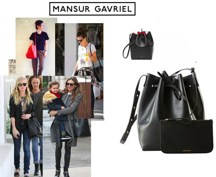 MANSUR GAVRIEL Street Style 2WAY Plain Leather Purses Shoulder Bags