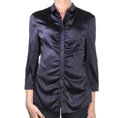Silk Cropped Plain Party Style Shirts & Blouses