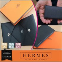 HERMES Unisex Calfskin Plain Card Holders