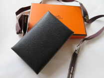 HERMES Plain Leather Card Holders