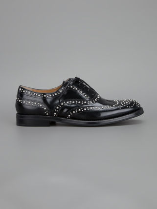 Round Toe Studded Leather Shoes