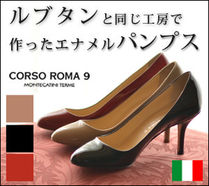 CORSOROMA9 Round Toe Enamel High Heel Pumps & Mules