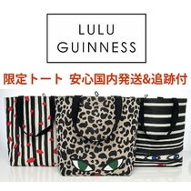 Lulu Guinness Stripes Leopard Patterns Collaboration A4 Totes