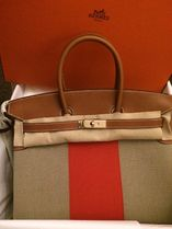 HERMES Birkin Ficelle, Paprika & Fauve/GHW Leather/Canvas Kelly Flag 35
