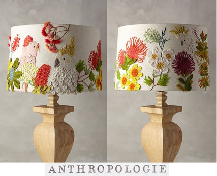 Anthropologie * Embroidered hen's lamp cover