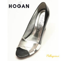 HOGAN Open Toe Plain Leather Peep Toe Pumps & Mules