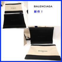 BALENCIAGA NAVY Unisex Canvas Bag in Bag Plain Clutches