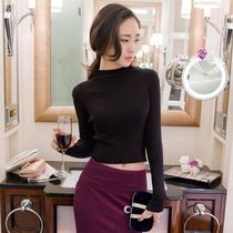 Short Long Sleeves Plain High-Neck Cropped